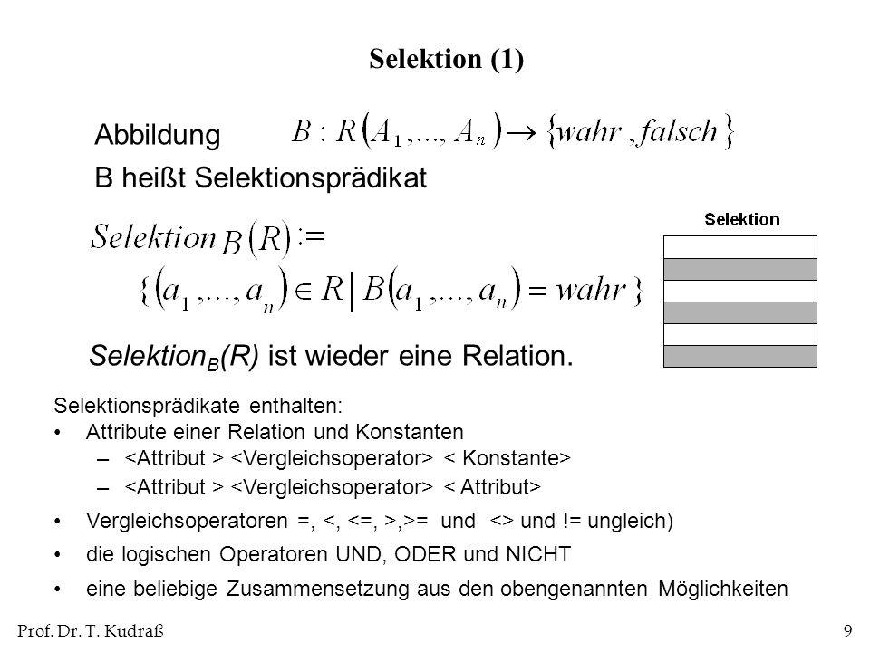 Prof. Dr. T. Kudraß9 Abbildung B heißt Selektionsprädikat Selektion B (R) ist wieder eine Relation. Selektion (1) Selektionsprädikate enthalten: Attri