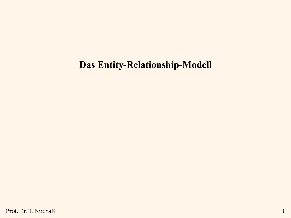 Prof. Dr. T. Kudraß1 Das Entity-Relationship-Modell