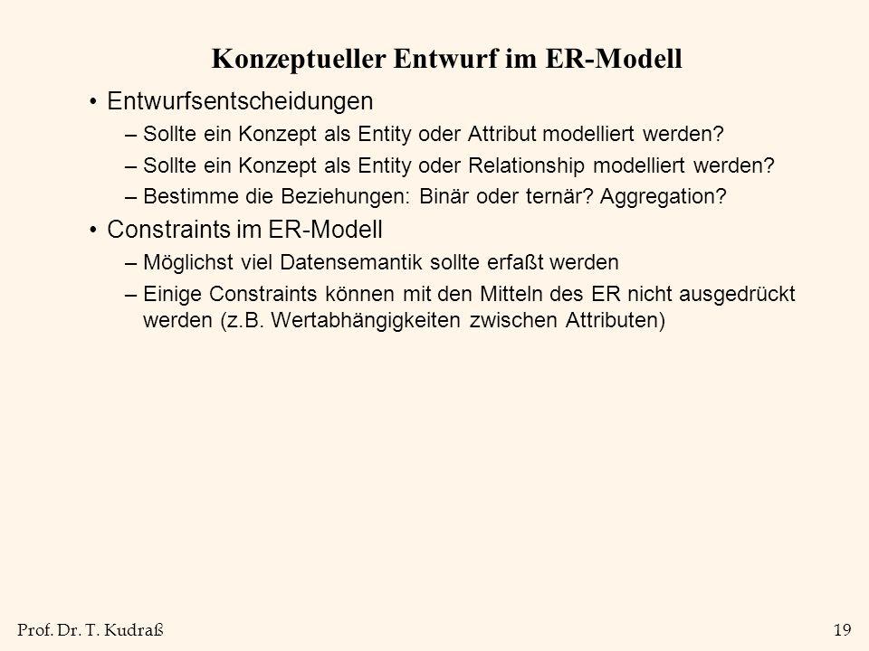 Prof. Dr. T. Kudraß19 Konzeptueller Entwurf im ER-Modell Entwurfsentscheidungen –Sollte ein Konzept als Entity oder Attribut modelliert werden? –Sollt