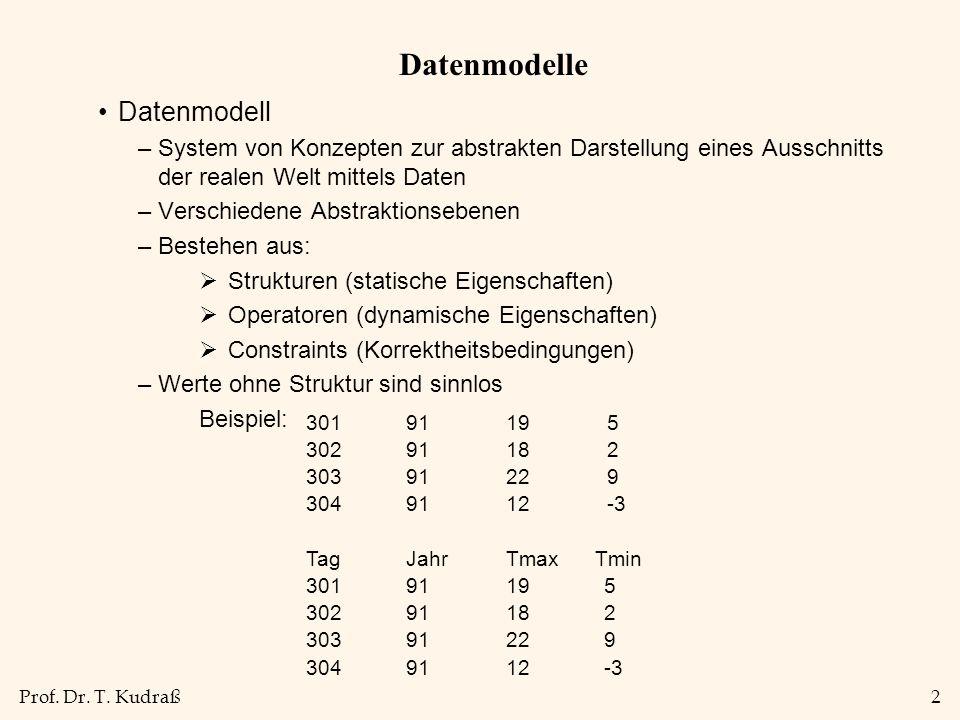 Prof. Dr. T. Kudraß2 Datenmodelle Datenmodell –System von Konzepten zur abstrakten Darstellung eines Ausschnitts der realen Welt mittels Daten –Versch