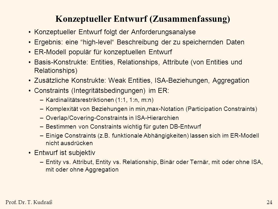 Prof. Dr. T. Kudraß24 Konzeptueller Entwurf (Zusammenfassung) Konzeptueller Entwurf folgt der Anforderungsanalyse Ergebnis: eine high-level Beschreibu