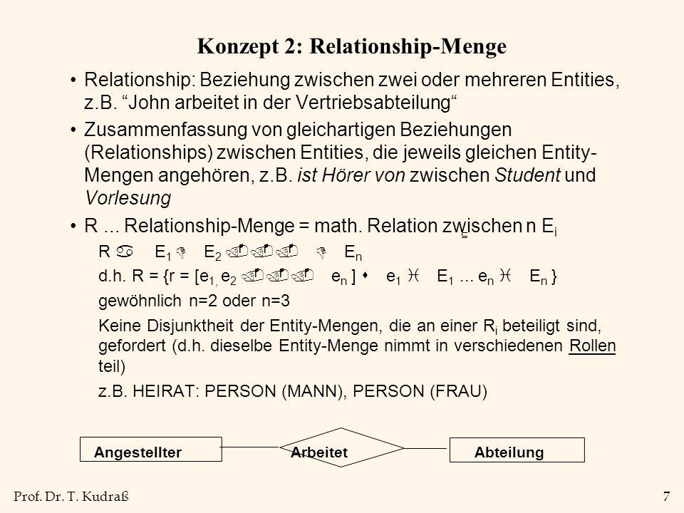 Prof. Dr. T. Kudraß7 Konzept 2: Relationship-Menge Relationship: Beziehung zwischen zwei oder mehreren Entities, z.B. John arbeitet in der Vertriebsab