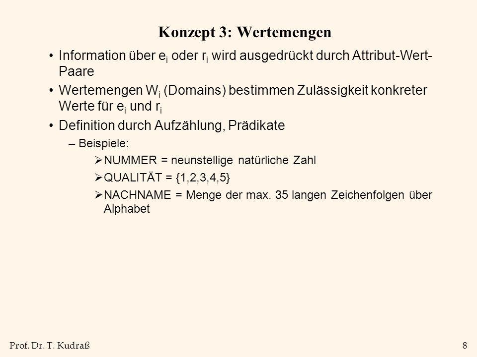 Prof. Dr. T. Kudraß8 Konzept 3: Wertemengen Information über e i oder r i wird ausgedrückt durch Attribut-Wert- Paare Wertemengen W i (Domains) bestim