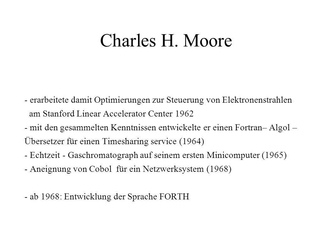 Charles H. Moore - erarbeitete damit Optimierungen zur Steuerung von Elektronenstrahlen am Stanford Linear Accelerator Center 1962 - mit den gesammelt