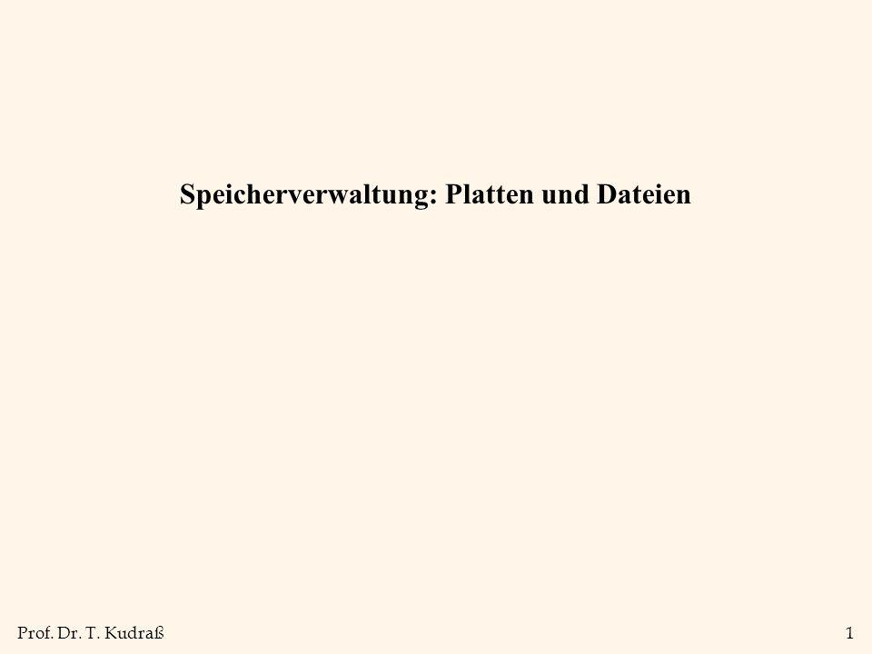 Prof. Dr. T. Kudraß1 Speicherverwaltung: Platten und Dateien