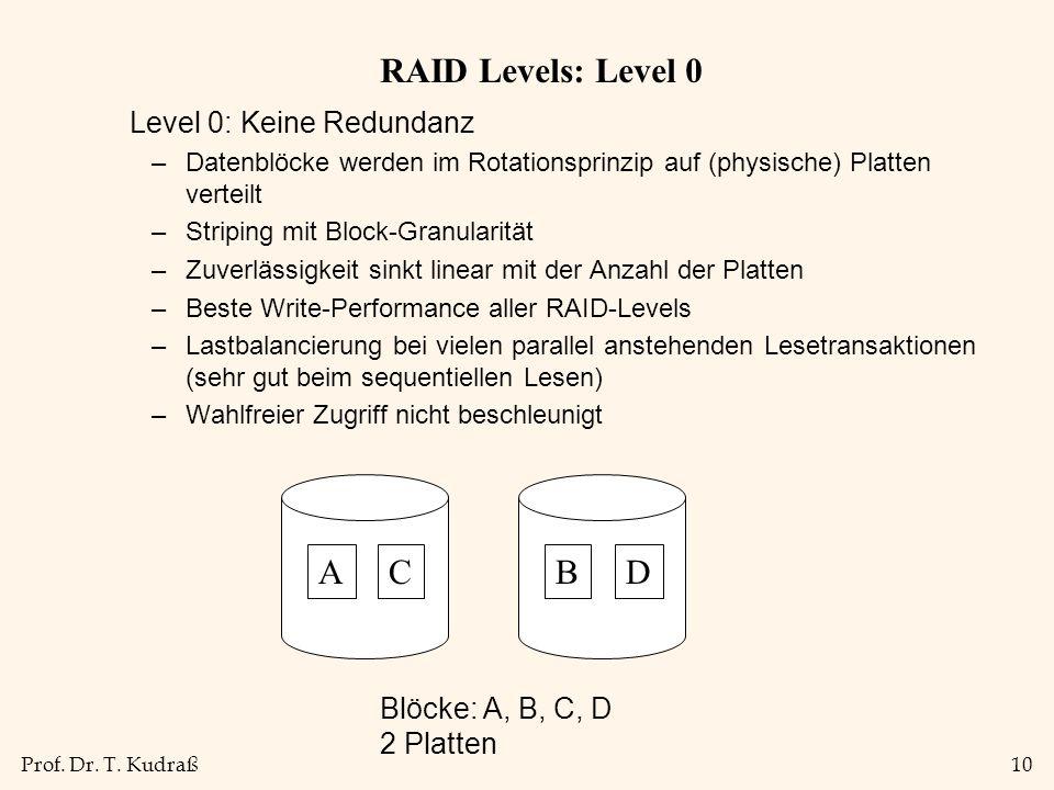 Prof. Dr. T. Kudraß10 RAID Levels: Level 0 Level 0: Keine Redundanz –Datenblöcke werden im Rotationsprinzip auf (physische) Platten verteilt –Striping
