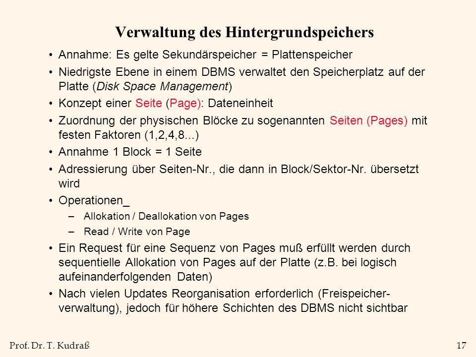 Prof. Dr. T. Kudraß17 Verwaltung des Hintergrundspeichers Annahme: Es gelte Sekundärspeicher = Plattenspeicher Niedrigste Ebene in einem DBMS verwalte