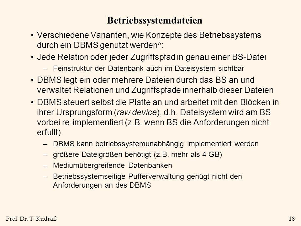 Prof. Dr. T. Kudraß18 Betriebssystemdateien Verschiedene Varianten, wie Konzepte des Betriebssystems durch ein DBMS genutzt werden^: Jede Relation ode