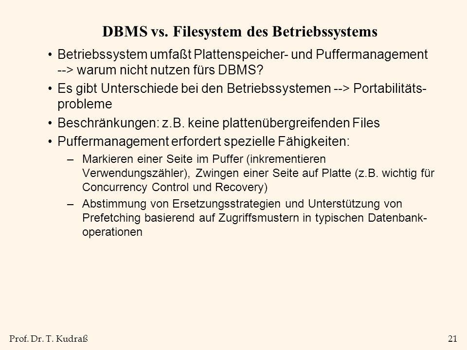 Prof. Dr. T. Kudraß21 DBMS vs. Filesystem des Betriebssystems Betriebssystem umfaßt Plattenspeicher- und Puffermanagement --> warum nicht nutzen fürs