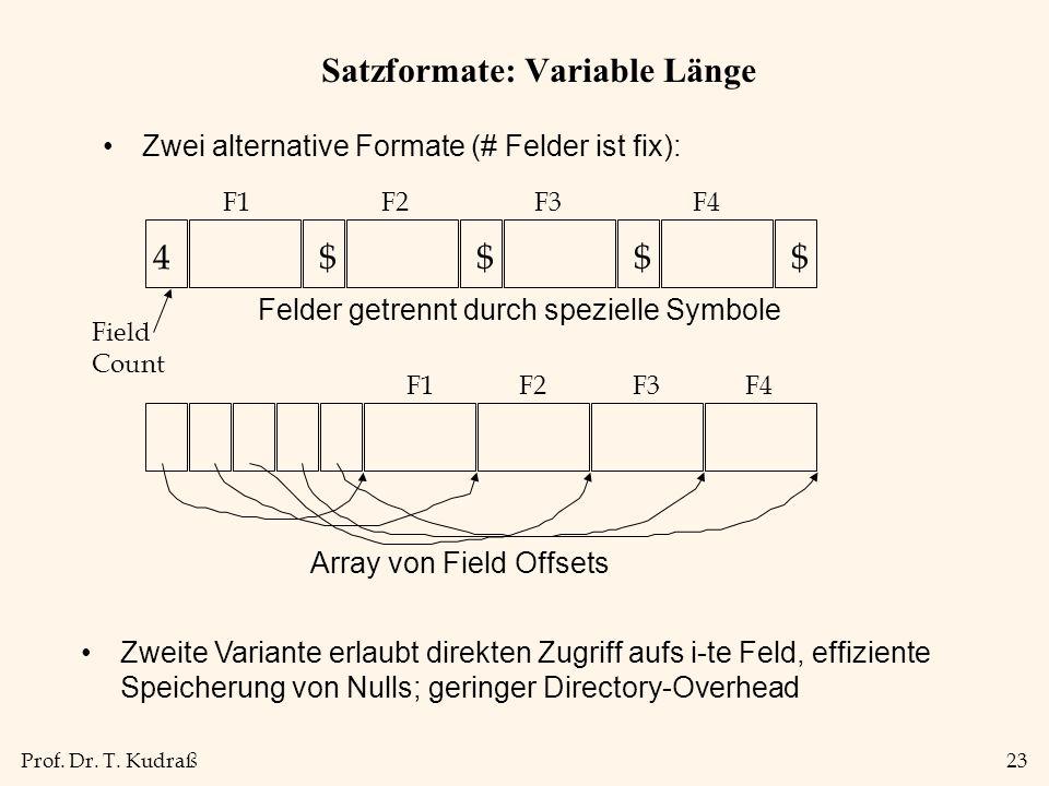 Prof. Dr. T. Kudraß23 Satzformate: Variable Länge Zwei alternative Formate (# Felder ist fix): 4$$$$ Field Count Felder getrennt durch spezielle Symbo