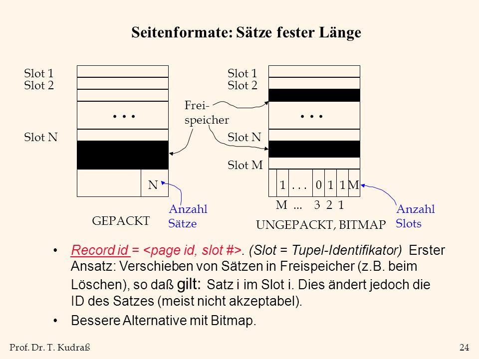 Prof. Dr. T. Kudraß24 Seitenformate: Sätze fester Länge Record id =. (Slot = Tupel-Identifikator) Erster Ansatz: Verschieben von Sätzen in Freispeiche