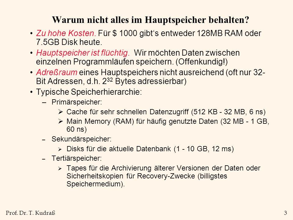 Prof. Dr. T. Kudraß3 Warum nicht alles im Hauptspeicher behalten? Zu hohe Kosten. Für $ 1000 gibts entweder 128MB RAM oder 7.5GB Disk heute. Hauptspei