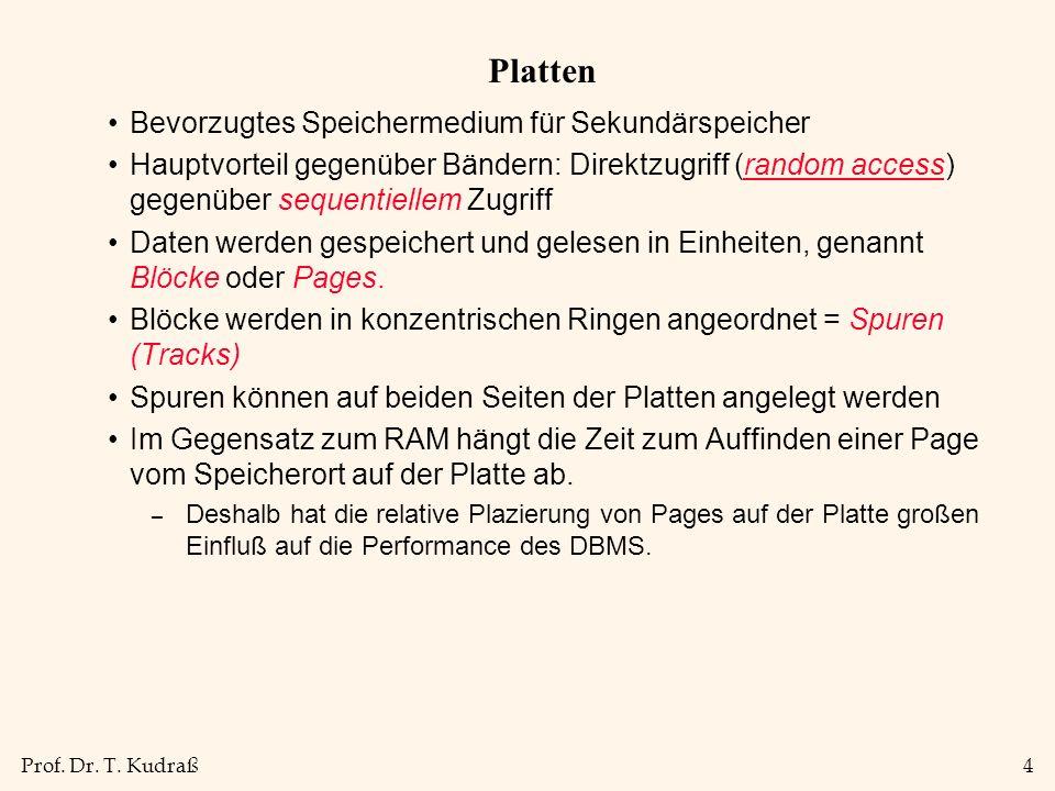 Prof. Dr. T. Kudraß4 Platten Bevorzugtes Speichermedium für Sekundärspeicher Hauptvorteil gegenüber Bändern: Direktzugriff (random access) gegenüber s