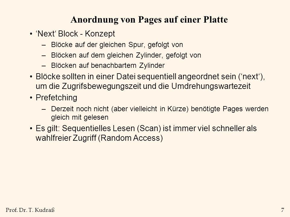 Prof. Dr. T. Kudraß7 Anordnung von Pages auf einer Platte Next Block - Konzept –Blöcke auf der gleichen Spur, gefolgt von –Blöcken auf dem gleichen Zy