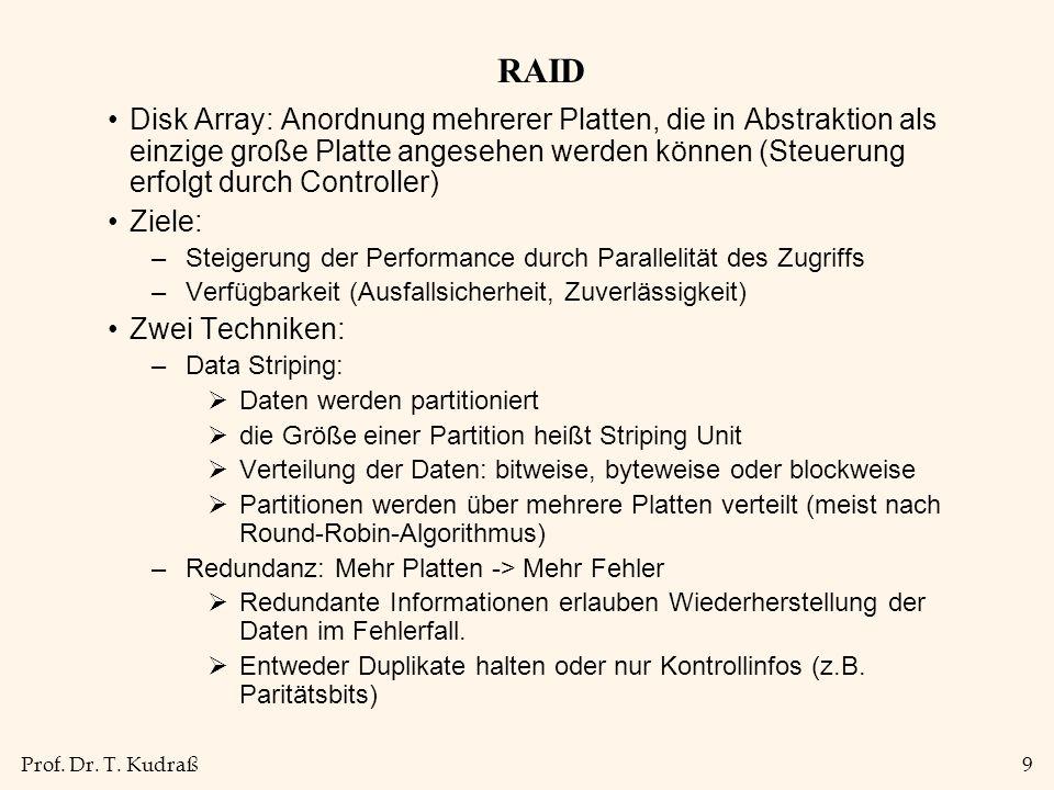 Prof. Dr. T. Kudraß9 RAID Disk Array: Anordnung mehrerer Platten, die in Abstraktion als einzige große Platte angesehen werden können (Steuerung erfol