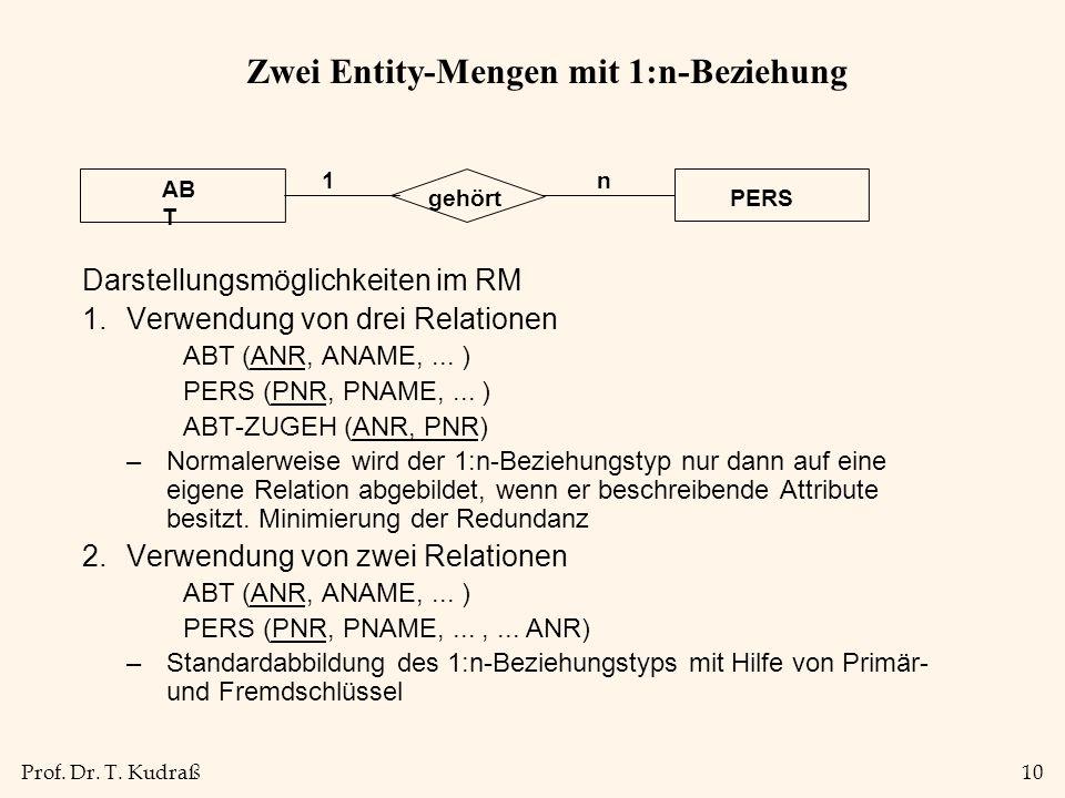 Prof. Dr. T. Kudraß10 Zwei Entity-Mengen mit 1:n-Beziehung Darstellungsmöglichkeiten im RM 1.Verwendung von drei Relationen ABT (ANR, ANAME,... ) PERS