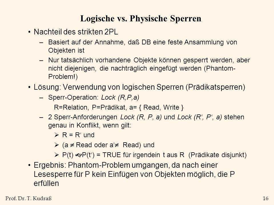 Prof. Dr. T. Kudraß16 Logische vs. Physische Sperren Nachteil des strikten 2PL –Basiert auf der Annahme, daß DB eine feste Ansammlung von Objekten ist