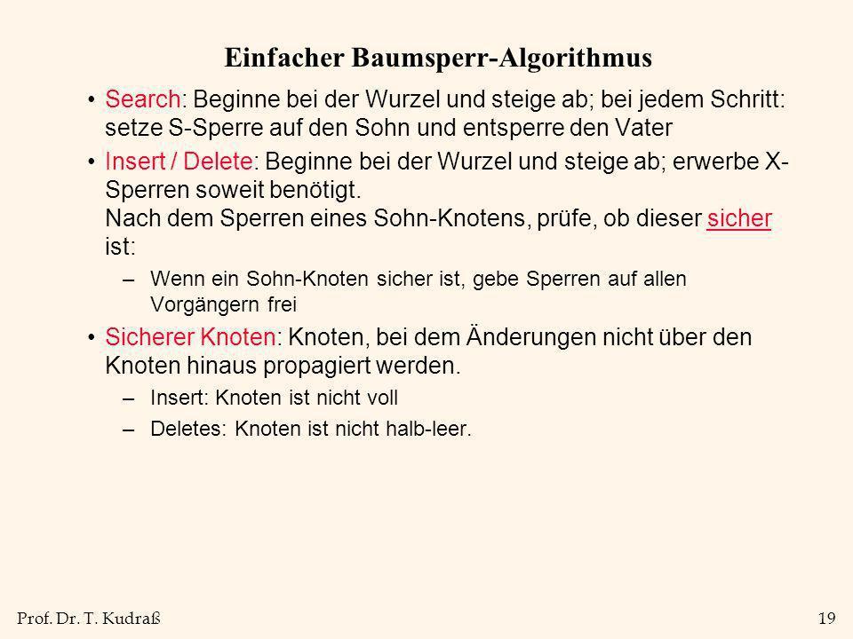 Prof. Dr. T. Kudraß19 Einfacher Baumsperr-Algorithmus Search: Beginne bei der Wurzel und steige ab; bei jedem Schritt: setze S-Sperre auf den Sohn und