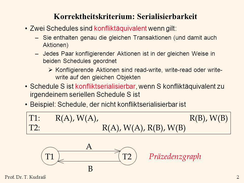Prof. Dr. T. Kudraß2 Korrektheitskriterium: Serialisierbarkeit Zwei Schedules sind konfliktäquivalent wenn gilt: –Sie enthalten genau die gleichen Tra