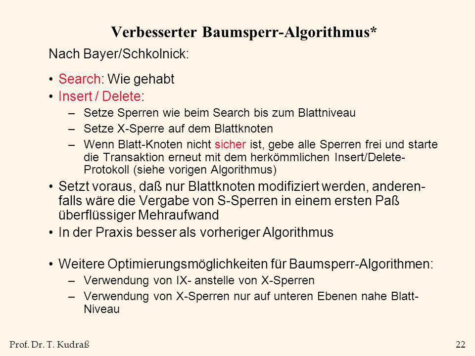 Prof. Dr. T. Kudraß22 Verbesserter Baumsperr-Algorithmus* Nach Bayer/Schkolnick: Search: Wie gehabt Insert / Delete: –Setze Sperren wie beim Search bi