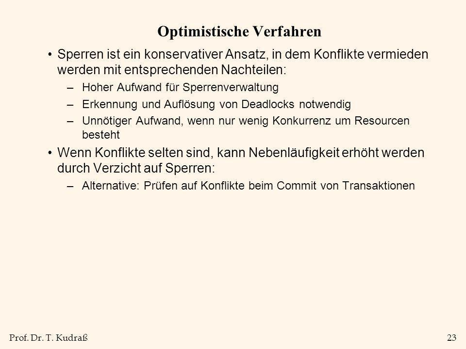 Prof. Dr. T. Kudraß23 Optimistische Verfahren Sperren ist ein konservativer Ansatz, in dem Konflikte vermieden werden mit entsprechenden Nachteilen: –