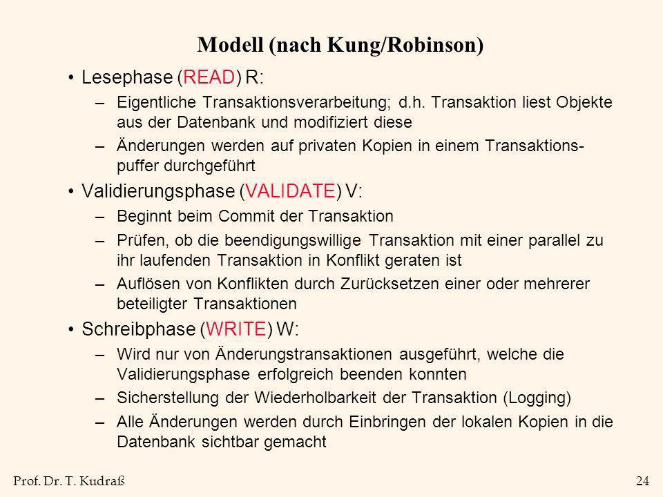 Prof. Dr. T. Kudraß24 Modell (nach Kung/Robinson) Lesephase (READ) R: –Eigentliche Transaktionsverarbeitung; d.h. Transaktion liest Objekte aus der Da
