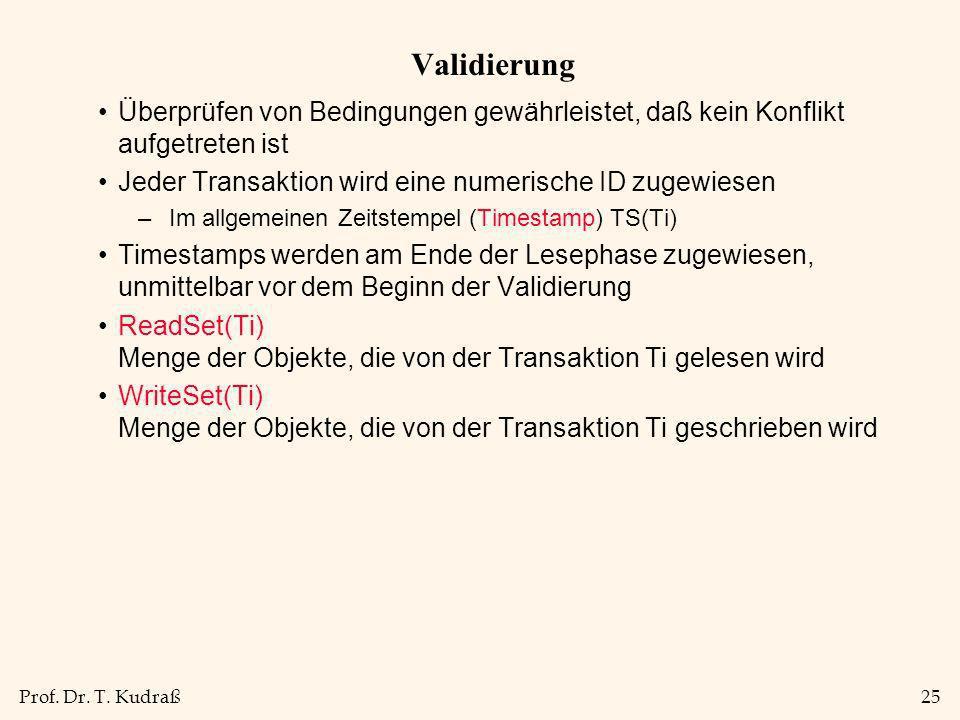Prof. Dr. T. Kudraß25 Validierung Überprüfen von Bedingungen gewährleistet, daß kein Konflikt aufgetreten ist Jeder Transaktion wird eine numerische I