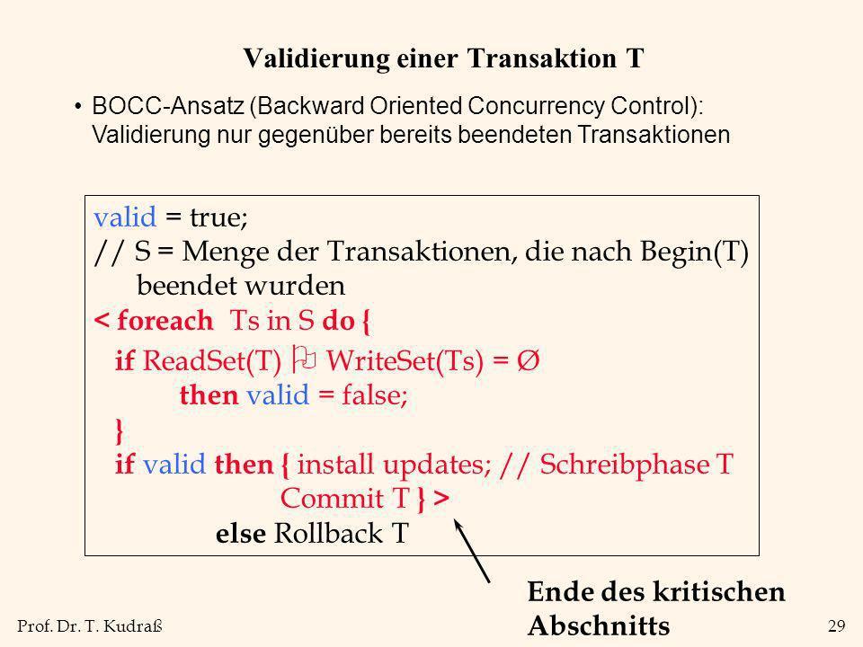 Prof. Dr. T. Kudraß29 Validierung einer Transaktion T BOCC-Ansatz (Backward Oriented Concurrency Control): Validierung nur gegenüber bereits beendeten