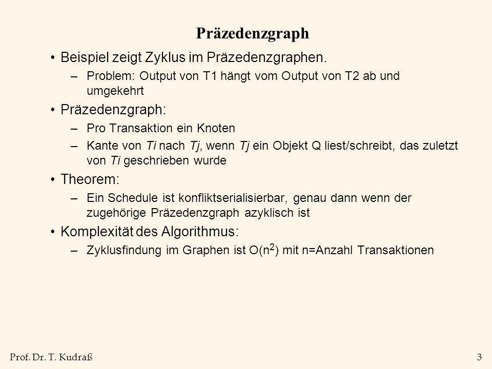 Prof. Dr. T. Kudraß3 Präzedenzgraph Beispiel zeigt Zyklus im Präzedenzgraphen. –Problem: Output von T1 hängt vom Output von T2 ab und umgekehrt Präzed