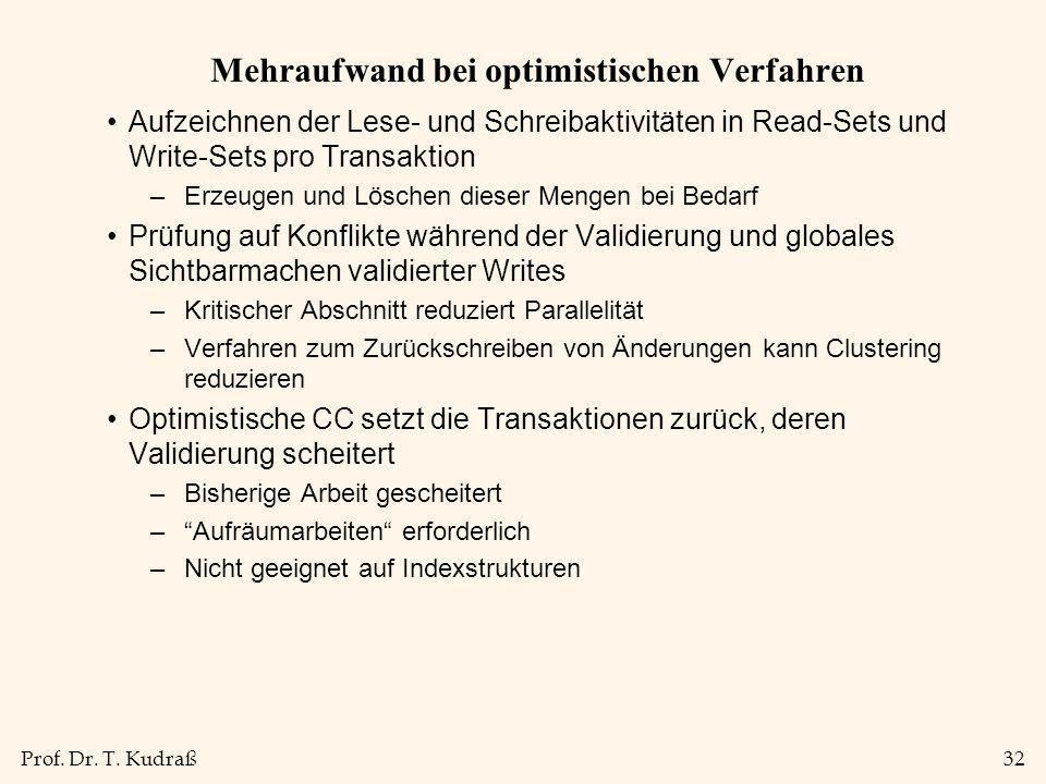 Prof. Dr. T. Kudraß32 Mehraufwand bei optimistischen Verfahren Aufzeichnen der Lese- und Schreibaktivitäten in Read-Sets und Write-Sets pro Transaktio