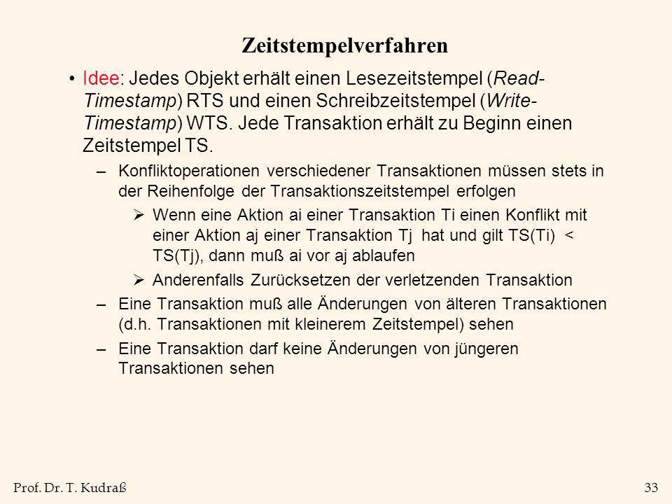 Prof. Dr. T. Kudraß33 Zeitstempelverfahren Idee: Jedes Objekt erhält einen Lesezeitstempel (Read- Timestamp) RTS und einen Schreibzeitstempel (Write-