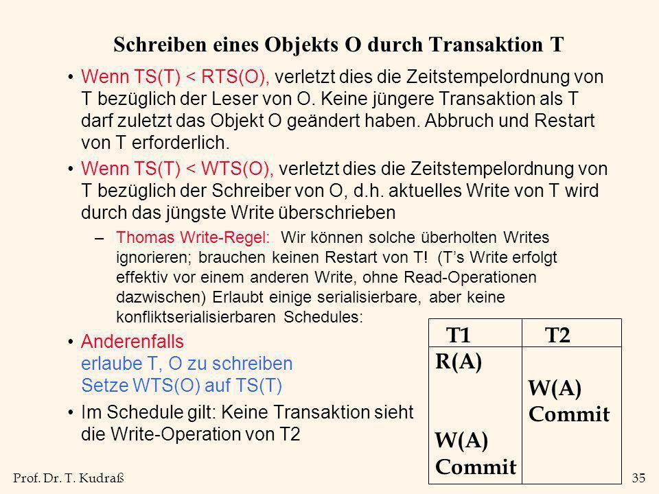 Prof. Dr. T. Kudraß35 Schreiben eines Objekts O durch Transaktion T Wenn TS(T) < RTS(O), verletzt dies die Zeitstempelordnung von T bezüglich der Lese
