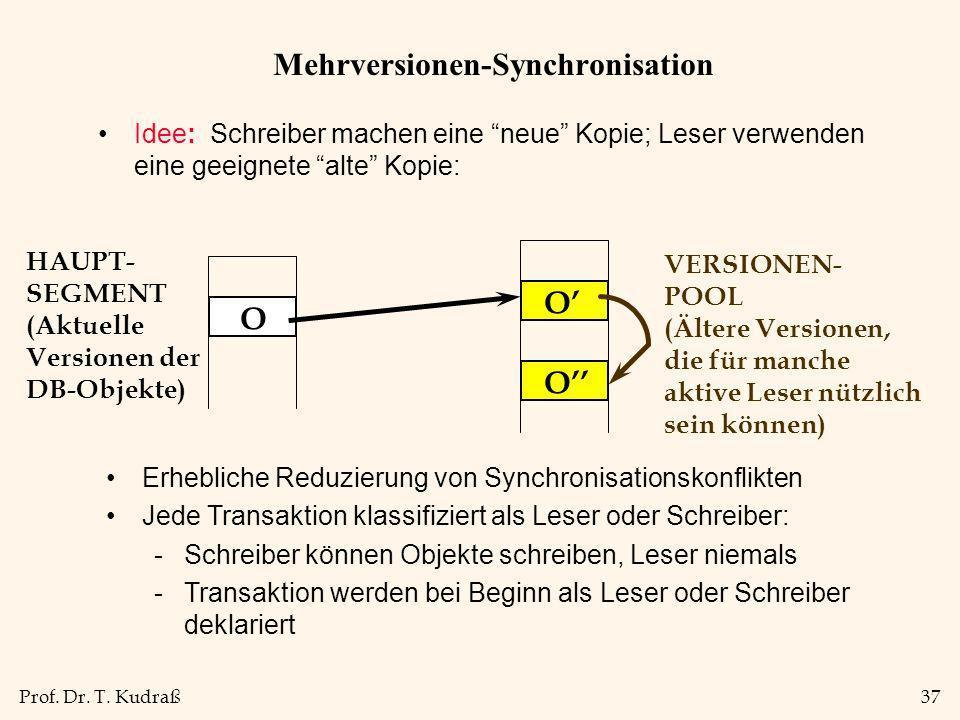 Prof. Dr. T. Kudraß37 Mehrversionen-Synchronisation Idee: Schreiber machen eine neue Kopie; Leser verwenden eine geeignete alte Kopie: O O O HAUPT- SE