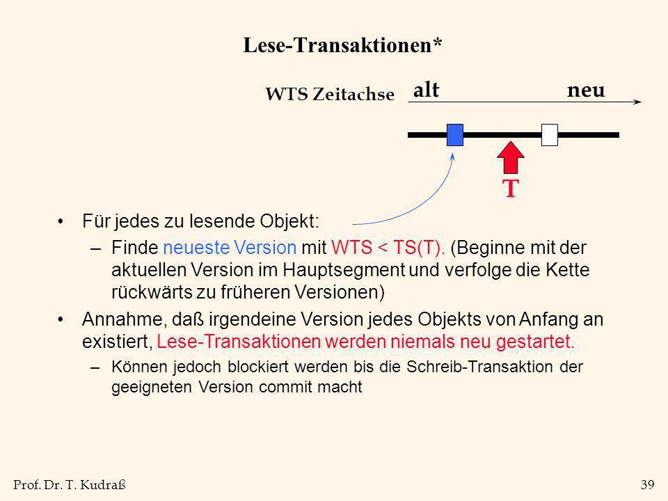 Prof. Dr. T. Kudraß39 Lese-Transaktionen* T alt neu WTS Zeitachse Für jedes zu lesende Objekt: –Finde neueste Version mit WTS < TS(T). (Beginne mit de