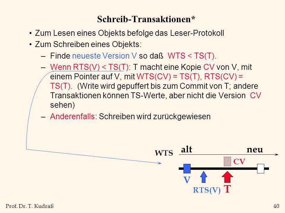 Prof. Dr. T. Kudraß40 Schreib-Transaktionen* Zum Lesen eines Objekts befolge das Leser-Protokoll Zum Schreiben eines Objekts: –Finde neueste Version V