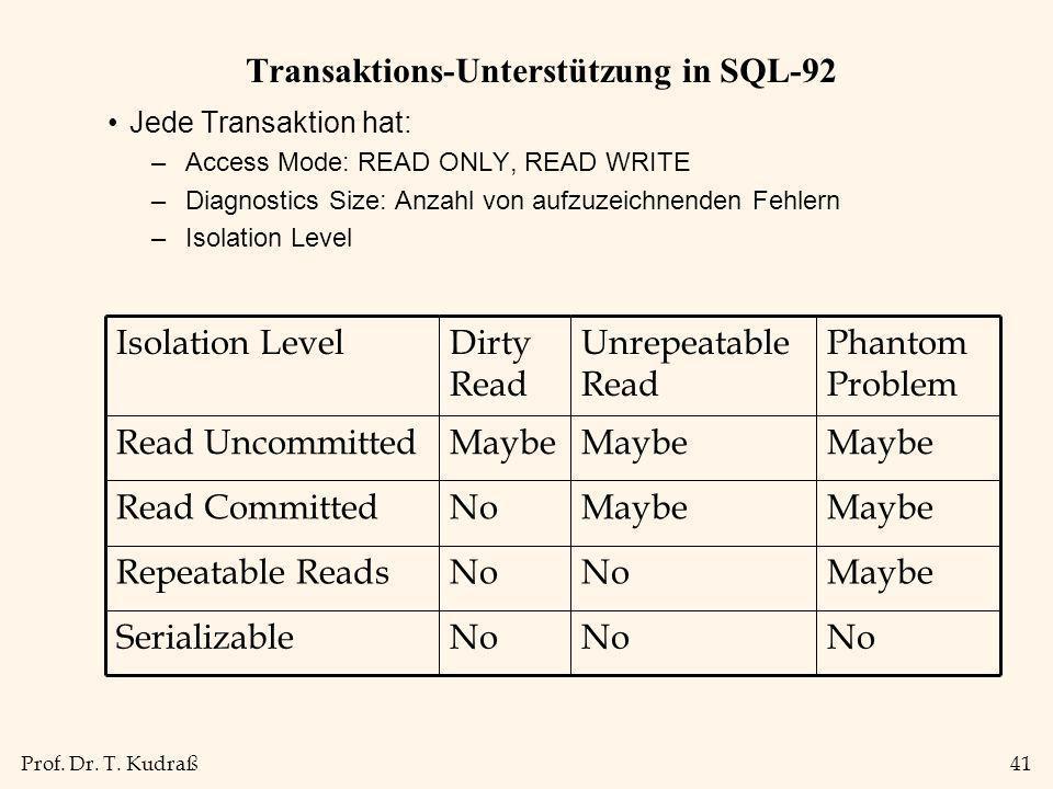 Prof. Dr. T. Kudraß41 Transaktions-Unterstützung in SQL-92 Jede Transaktion hat: –Access Mode: READ ONLY, READ WRITE –Diagnostics Size: Anzahl von auf