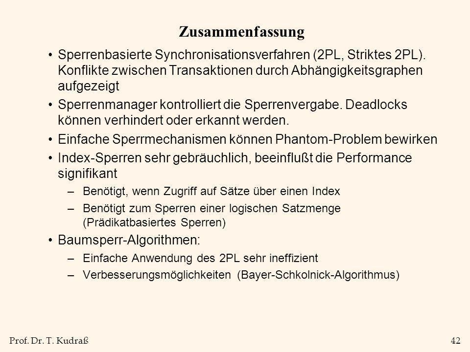 Prof. Dr. T. Kudraß42 Zusammenfassung Sperrenbasierte Synchronisationsverfahren (2PL, Striktes 2PL). Konflikte zwischen Transaktionen durch Abhängigke