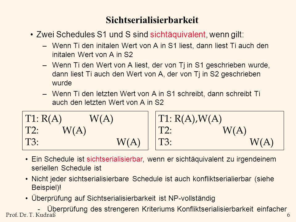 Prof. Dr. T. Kudraß6 Sichtserialisierbarkeit Zwei Schedules S1 und S sind sichtäquivalent, wenn gilt: –Wenn Ti den initalen Wert von A in S1 liest, da