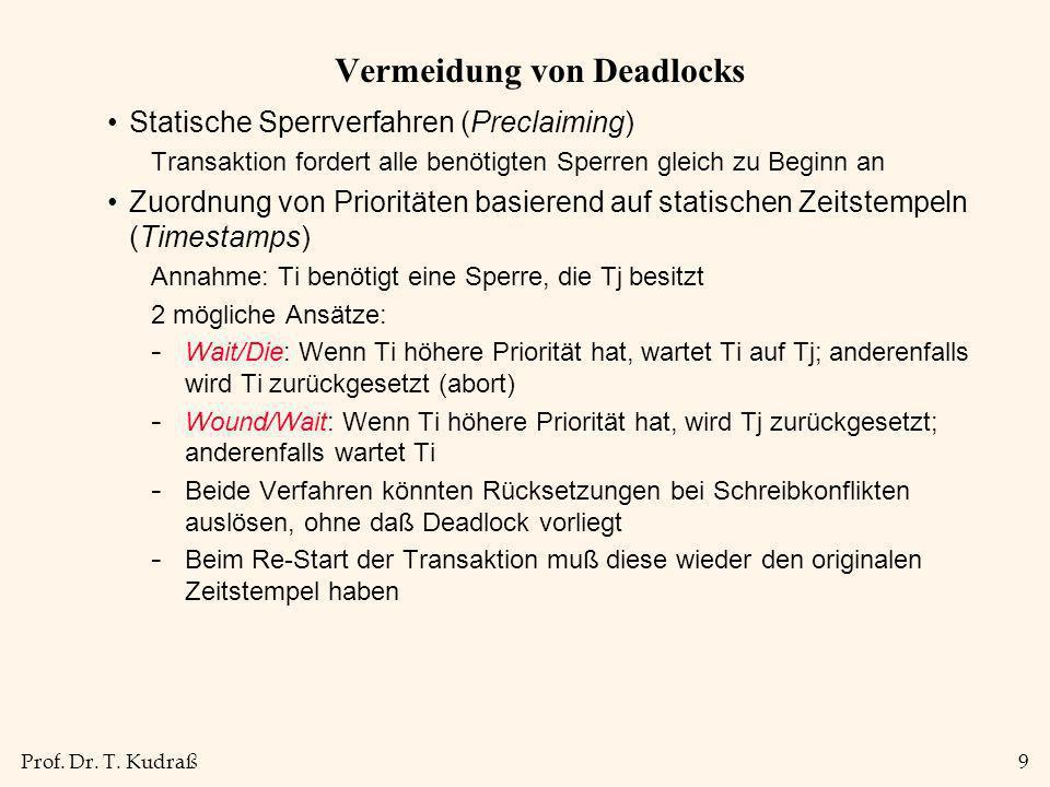 Prof. Dr. T. Kudraß9 Vermeidung von Deadlocks Statische Sperrverfahren (Preclaiming) Transaktion fordert alle benötigten Sperren gleich zu Beginn an Z