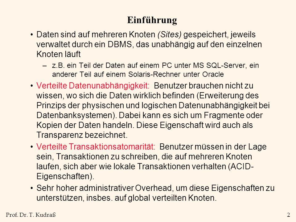 Prof.Dr. T. Kudraß13 Synchrone vs.