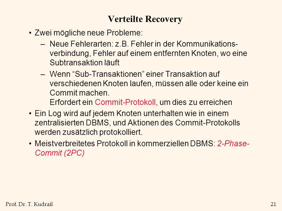 Prof. Dr. T. Kudraß21 Verteilte Recovery Zwei mögliche neue Probleme: –Neue Fehlerarten: z.B.