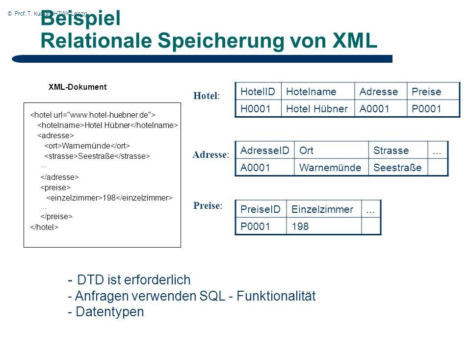 © Prof. T. Kudraß, HTWK Leipzig Beispiel Relationale Speicherung von XML - DTD ist erforderlich - Anfragen verwenden SQL - Funktionalität - Datentypen