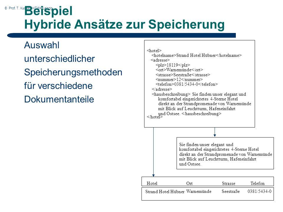 © Prof. T. Kudraß, HTWK Leipzig Beispiel Hybride Ansätze zur Speicherung Auswahl unterschiedlicher Speicherungsmethoden für verschiedene Dokumentantei