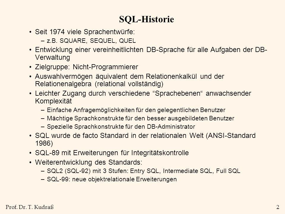 Prof. Dr. T. Kudraß2 SQL-Historie Seit 1974 viele Sprachentwürfe: –z.B.