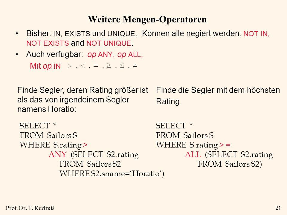 Prof. Dr. T. Kudraß21 Weitere Mengen-Operatoren Bisher: IN, EXISTS und UNIQUE.