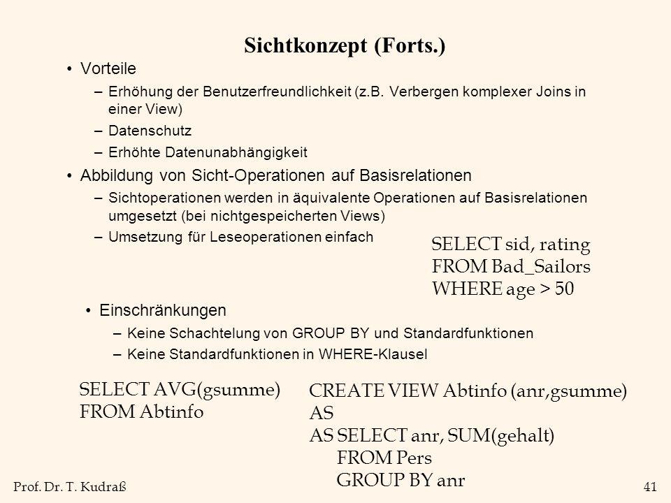 Prof. Dr. T. Kudraß41 Sichtkonzept (Forts.) Vorteile –Erhöhung der Benutzerfreundlichkeit (z.B.