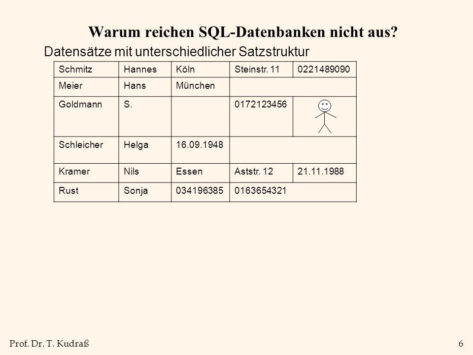 Prof.Dr. T. Kudraß6 Warum reichen SQL-Datenbanken nicht aus.