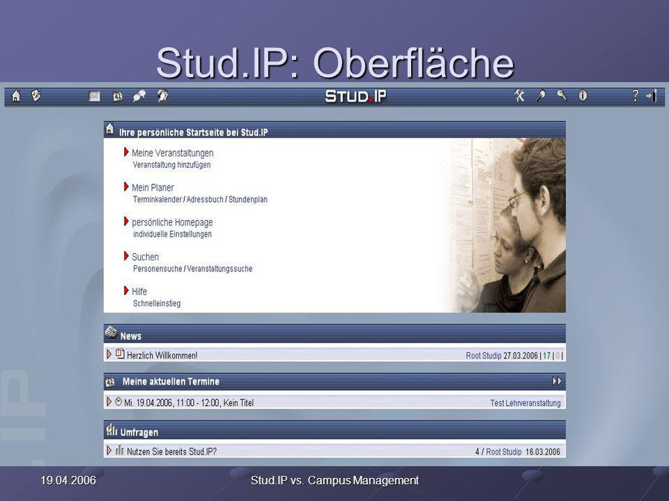19.04.2006Stud.IP vs. Campus Management Stud.IP: Funktionen