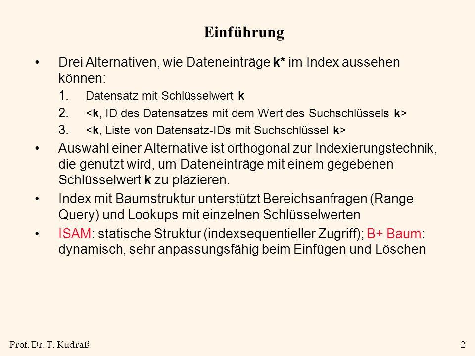 Prof. Dr. T. Kudraß2 Einführung Drei Alternativen, wie Dateneinträge k* im Index aussehen können: 1. Datensatz mit Schlüsselwert k 2. 3. Auswahl einer
