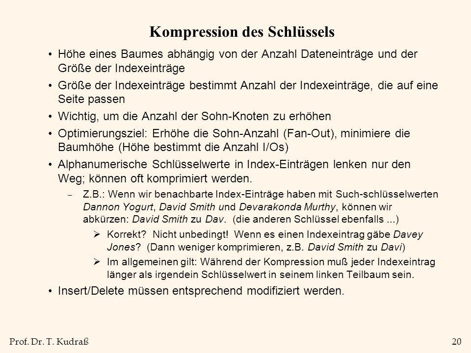 Prof. Dr. T. Kudraß20 Kompression des Schlüssels Höhe eines Baumes abhängig von der Anzahl Dateneinträge und der Größe der Indexeinträge Größe der Ind